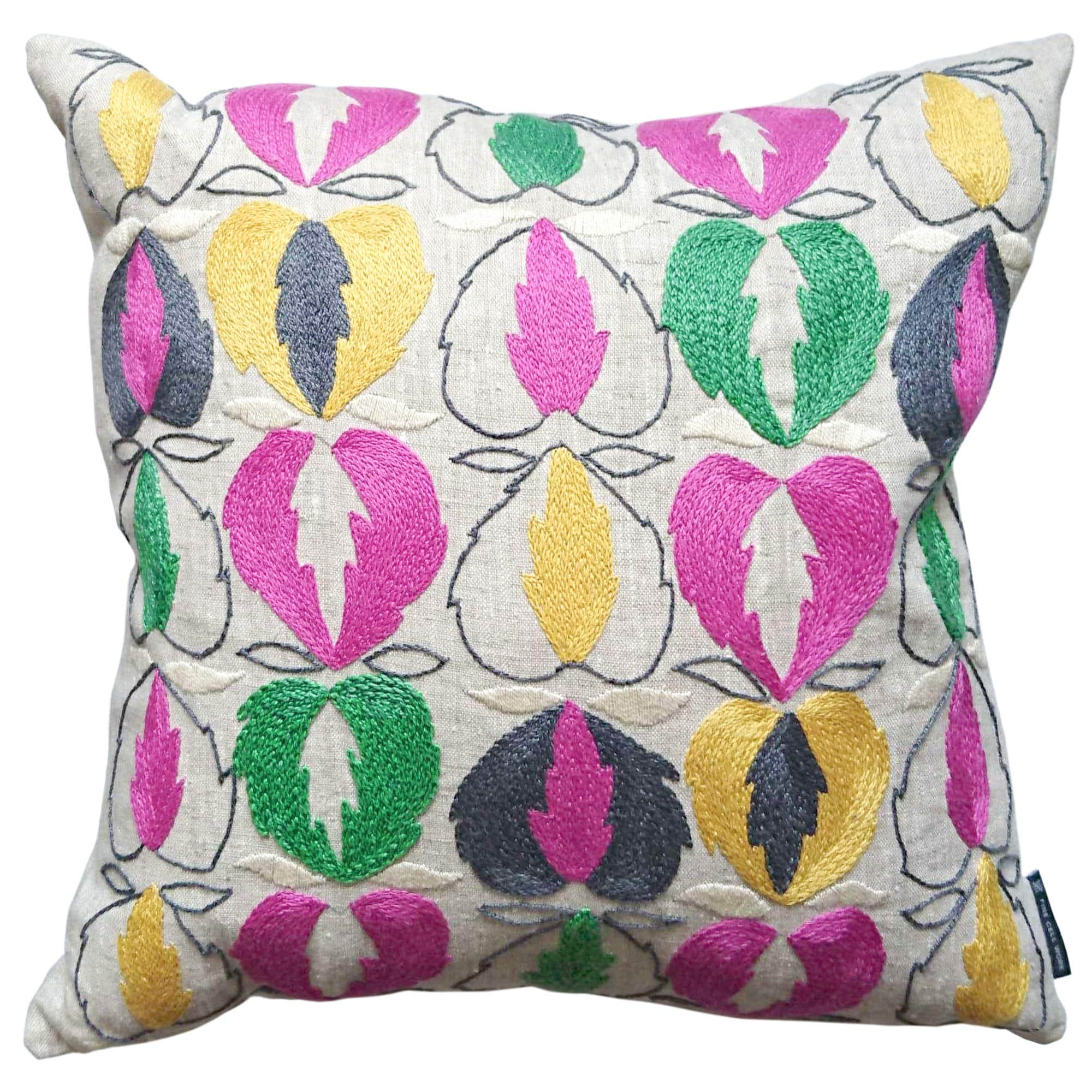 Kit Kemp Heart of Oak Linen Cushion Pink, Green and Grey