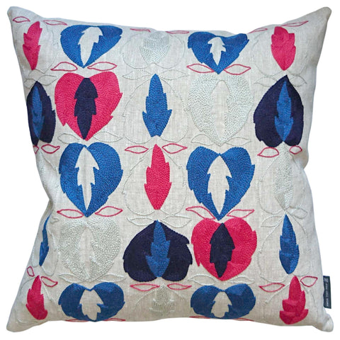 Kit Kemp Heart of Oak Linen Cushion Blue, Red and Grey