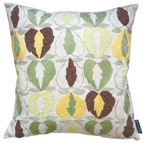 Kit Kemp Heart of Oak Linen Cushion Green, Brown and Grey