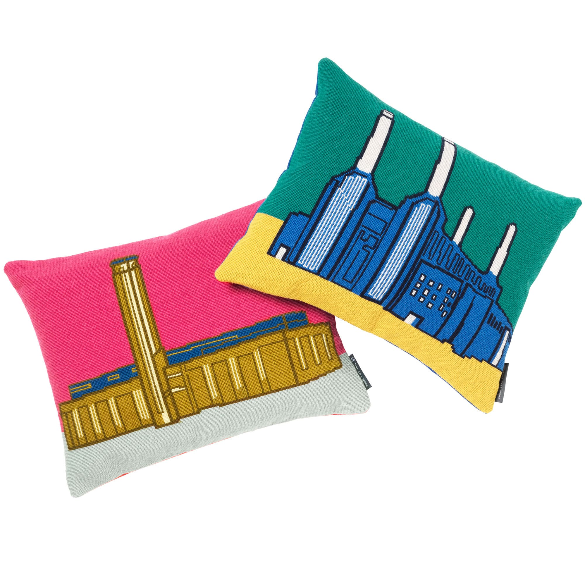 Landmarks New Tate Modern Battersea Power Station Needlepoint Cushion Fine Cell Work