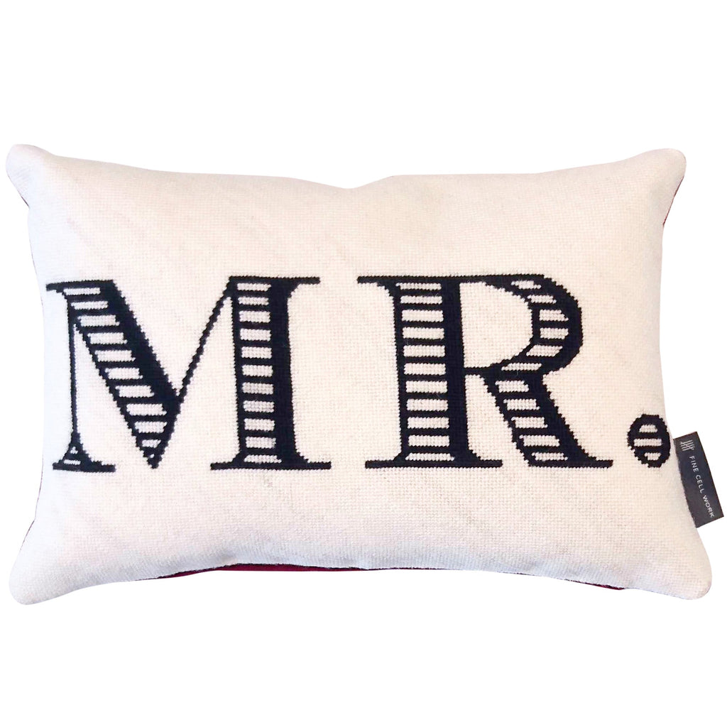 Fine Cell Work MR Monogram Handmade Cream Black Red Wool Linen Cushion