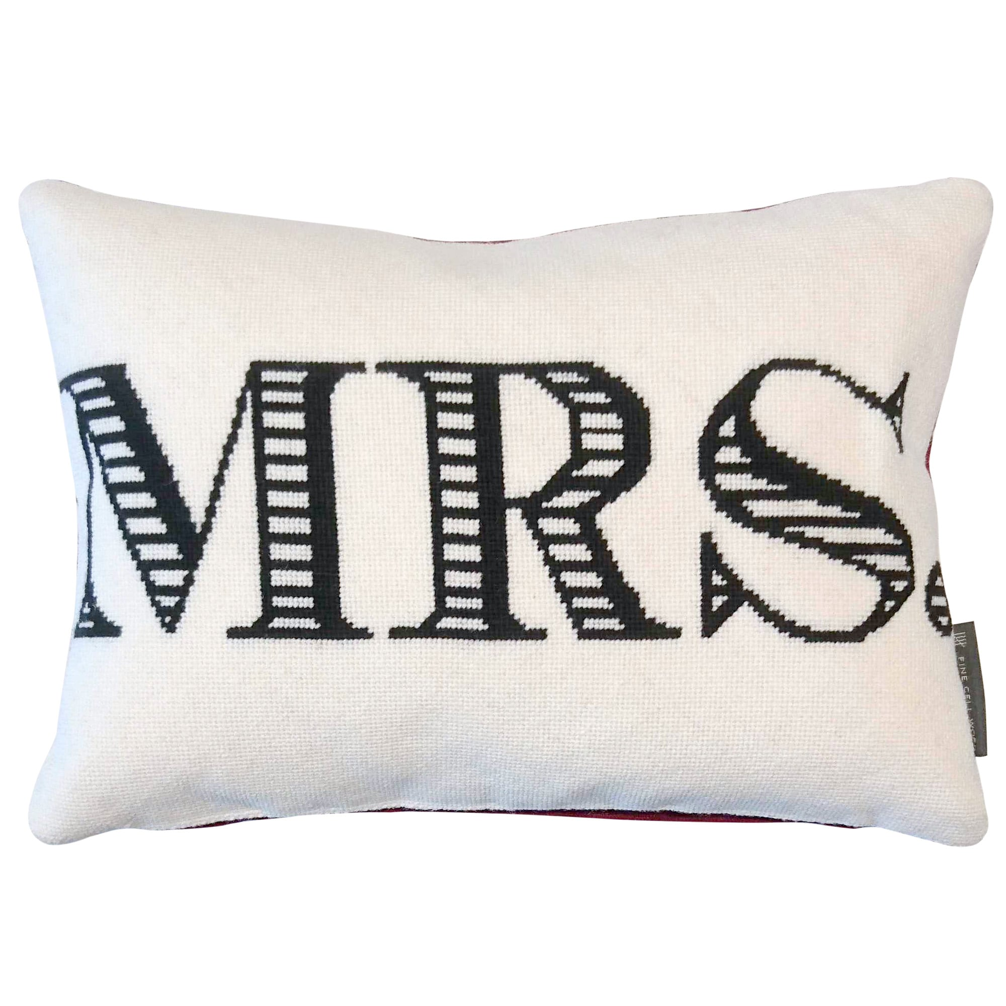 Fine Cell Work MRS Monogram Handmade Cream Black Red Wool Linen Cushion