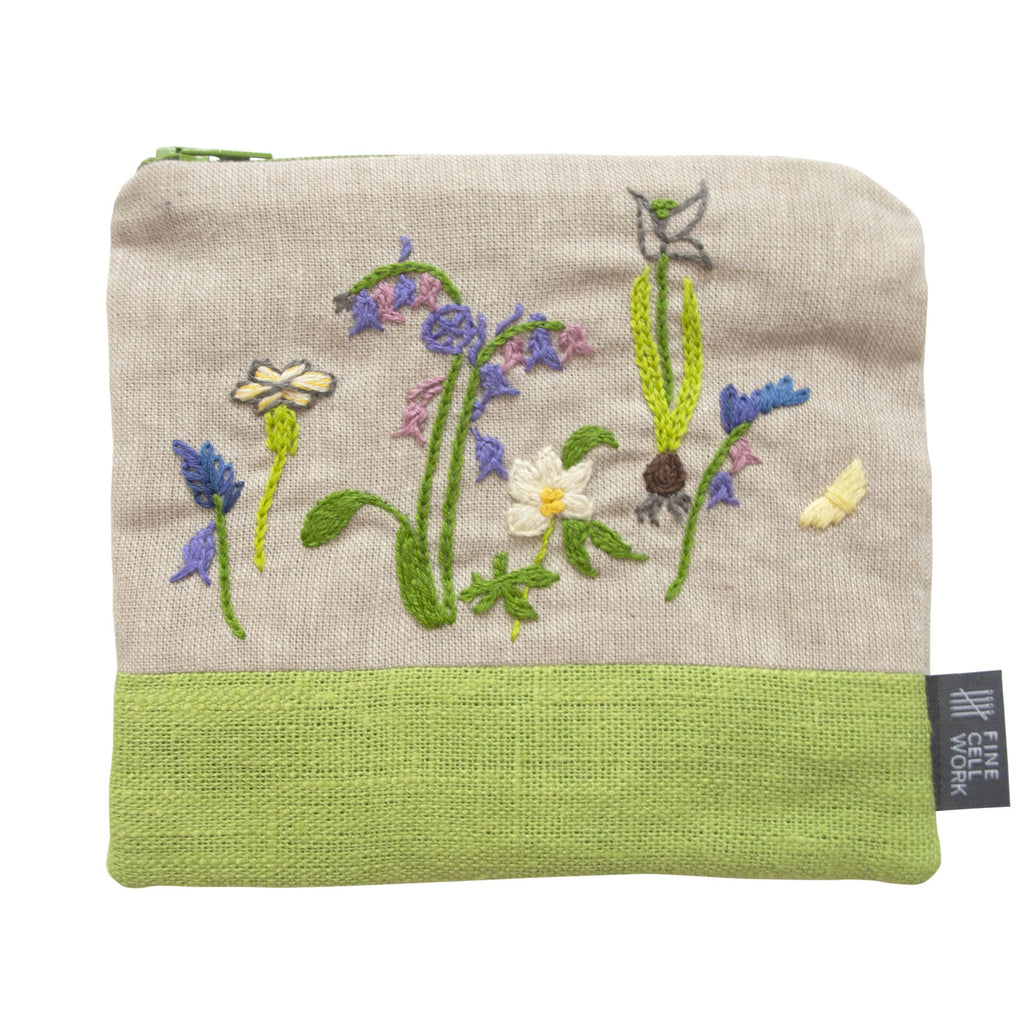 Fine Cell Work Hand-Embroidered Plantlife Linen Purse Floral Insects Green Grey Purple Handmade in Prison