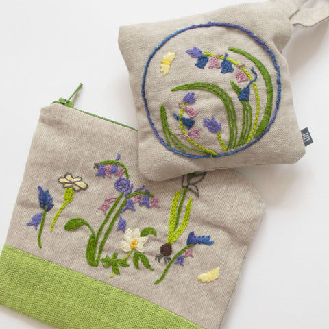 Fine Cell Work Hand-Embroidered Plantlife Linen Purse and Organic Lavender Bag Floral Insects Green Grey Purple Handmade in Prison