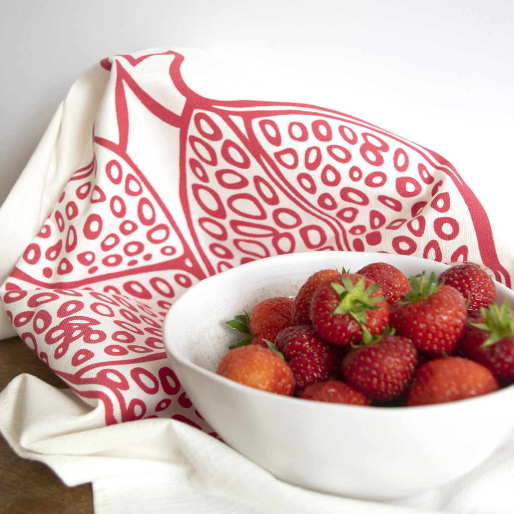 Fine Cell Work Pomegranate Red Tea Towel Cotton Linen