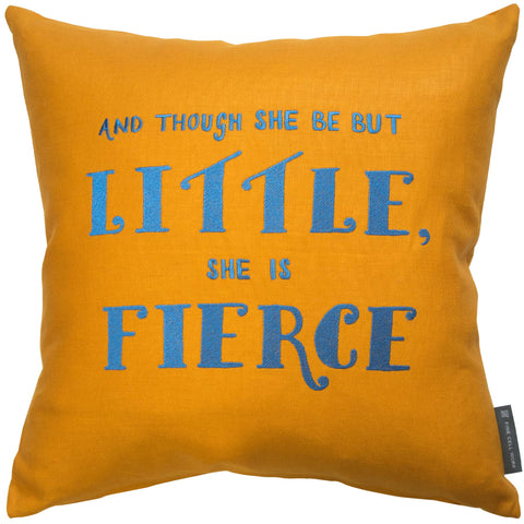 Fine Cell Work Felicity Kendall Shakespeare Midnight Summer's Dream 'Though she be but little, she is fierce' Embroidered Cushion Mustard Yellow Blue