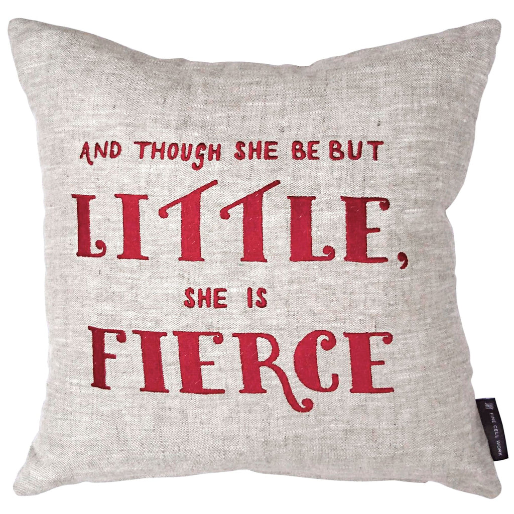 Felicity Kendal Shakespeare Quote 'Though she be but little, she is fierce' Cushion Red