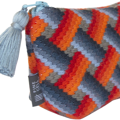 Bargello Needlepoint Tassel Purse Sky Blue and Orange