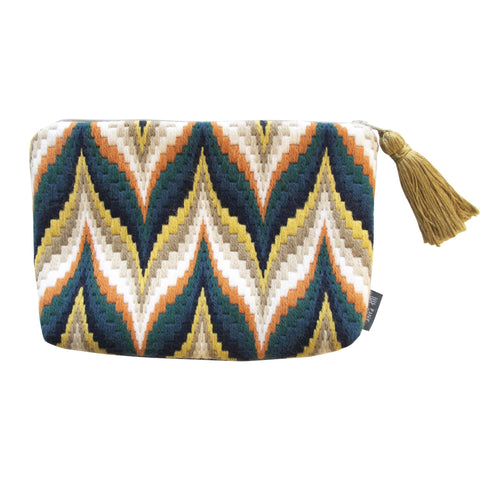 Bargello Needlepoint Tassel Pouch Cream and Blue