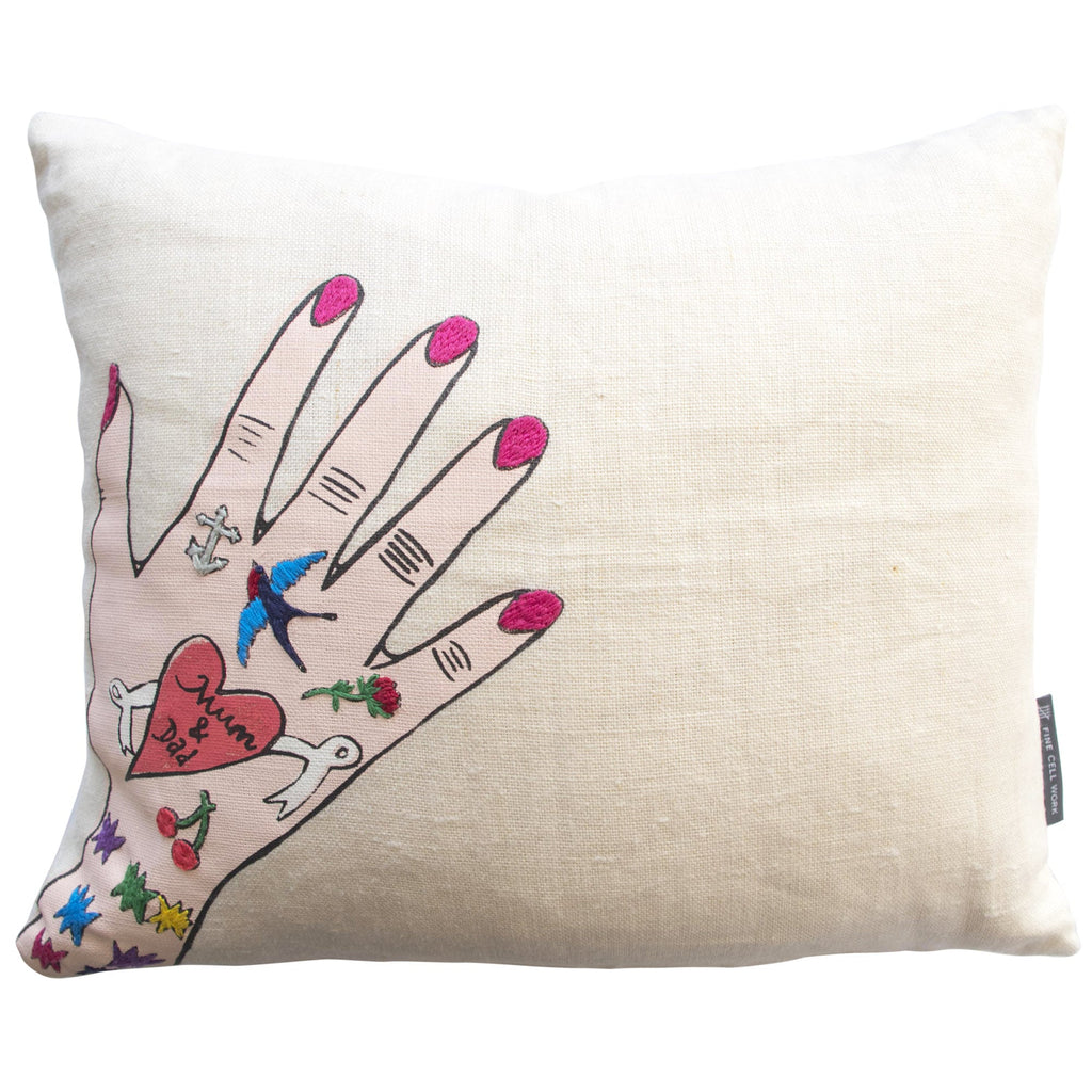 Daisy de Villeneuve Mum & Dad Hand Cushion