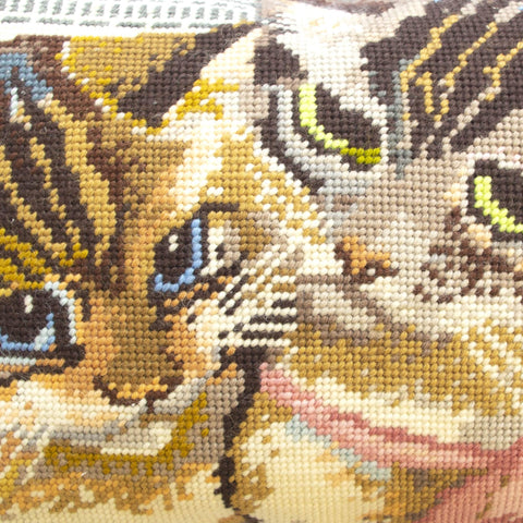 Kitsch Kittens Needlepoint Cushion