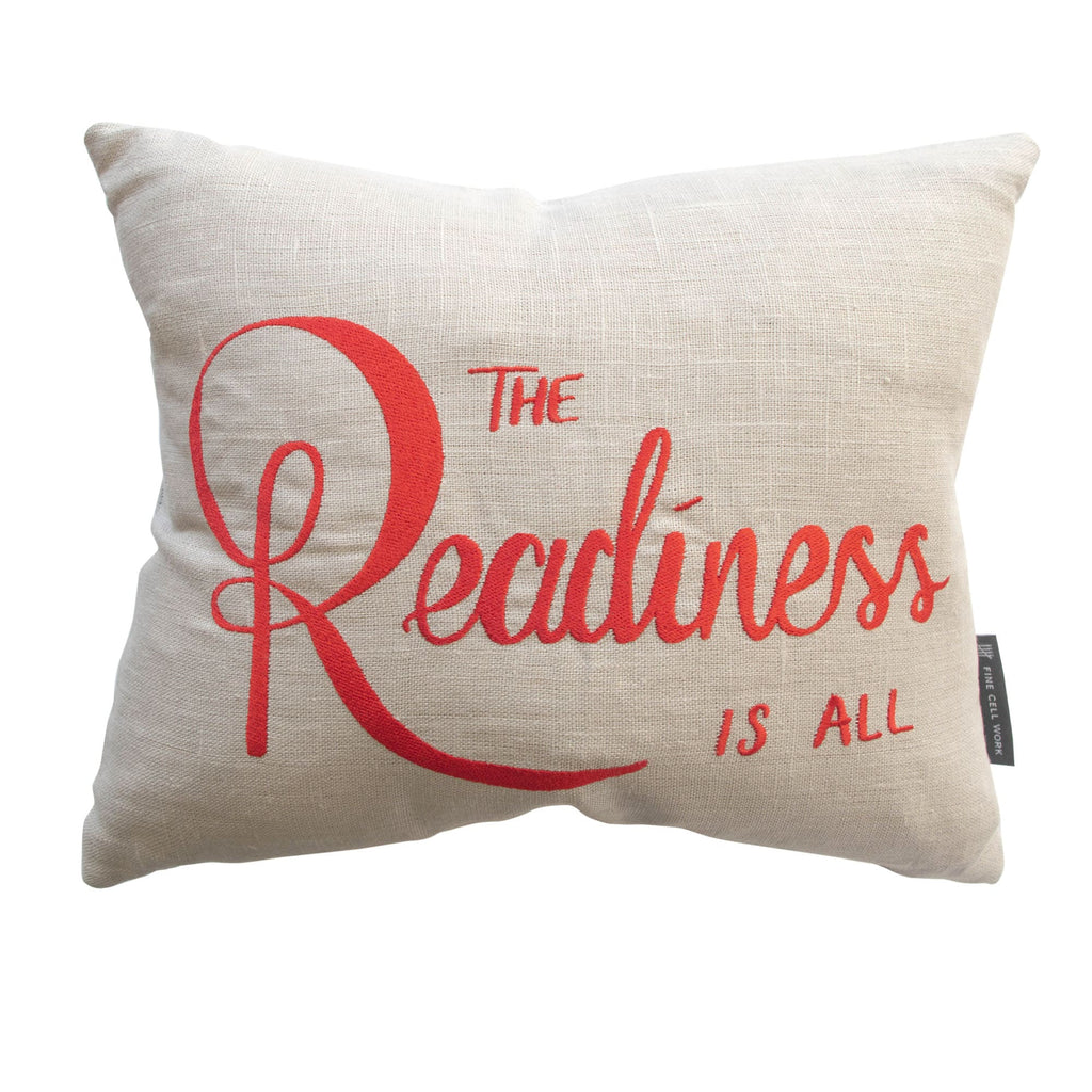 Shakespeare Quote 'Readiness is all' Cushion Scarlet Red