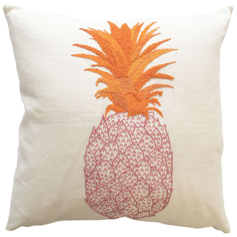 Pineapple Embroidered Cushion Pink and Orange on Cream (Second)