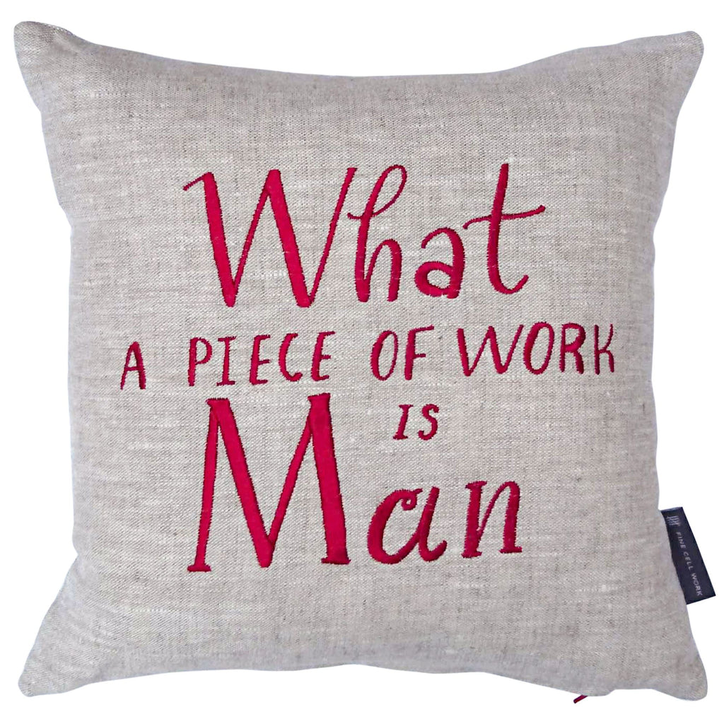 Emma Thompson Shakespeare Quote 'What a Piece of Work is Man' Cushion Red
