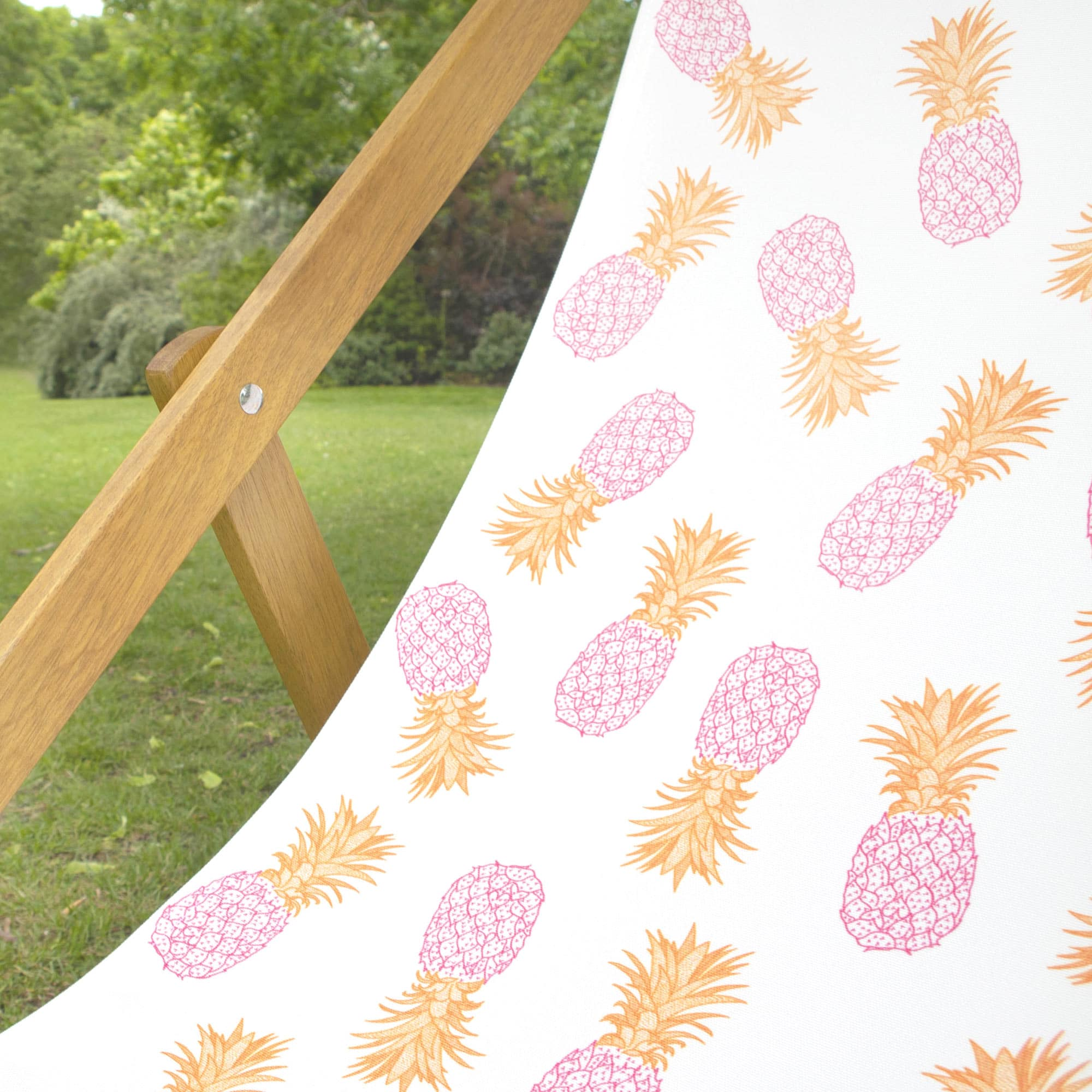 Fine Cell Work Wooden Pineapple Beach Garden Deckchair Pink Orange White