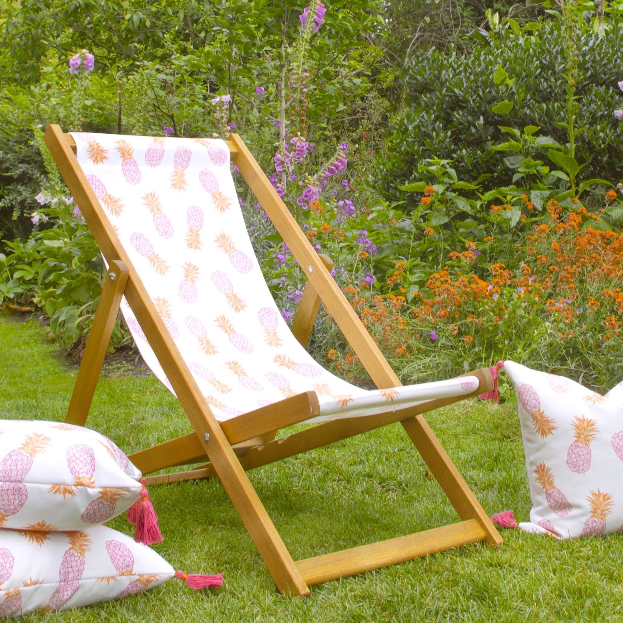 Wooden Pineapple Deckchair Pink and Orange