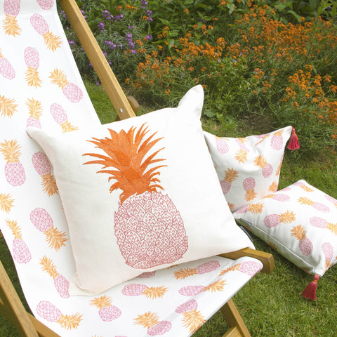 Pineapple Hand-Embroidered Cushion on Deckchair Pink and Orange on Cream Melissa Wyndham for Fine Cell Work