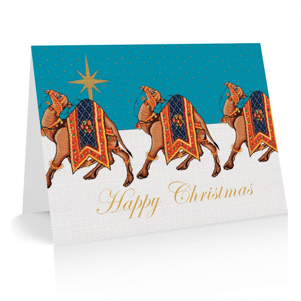 Pack of 5 Christmas Cards Camel Caravan Design