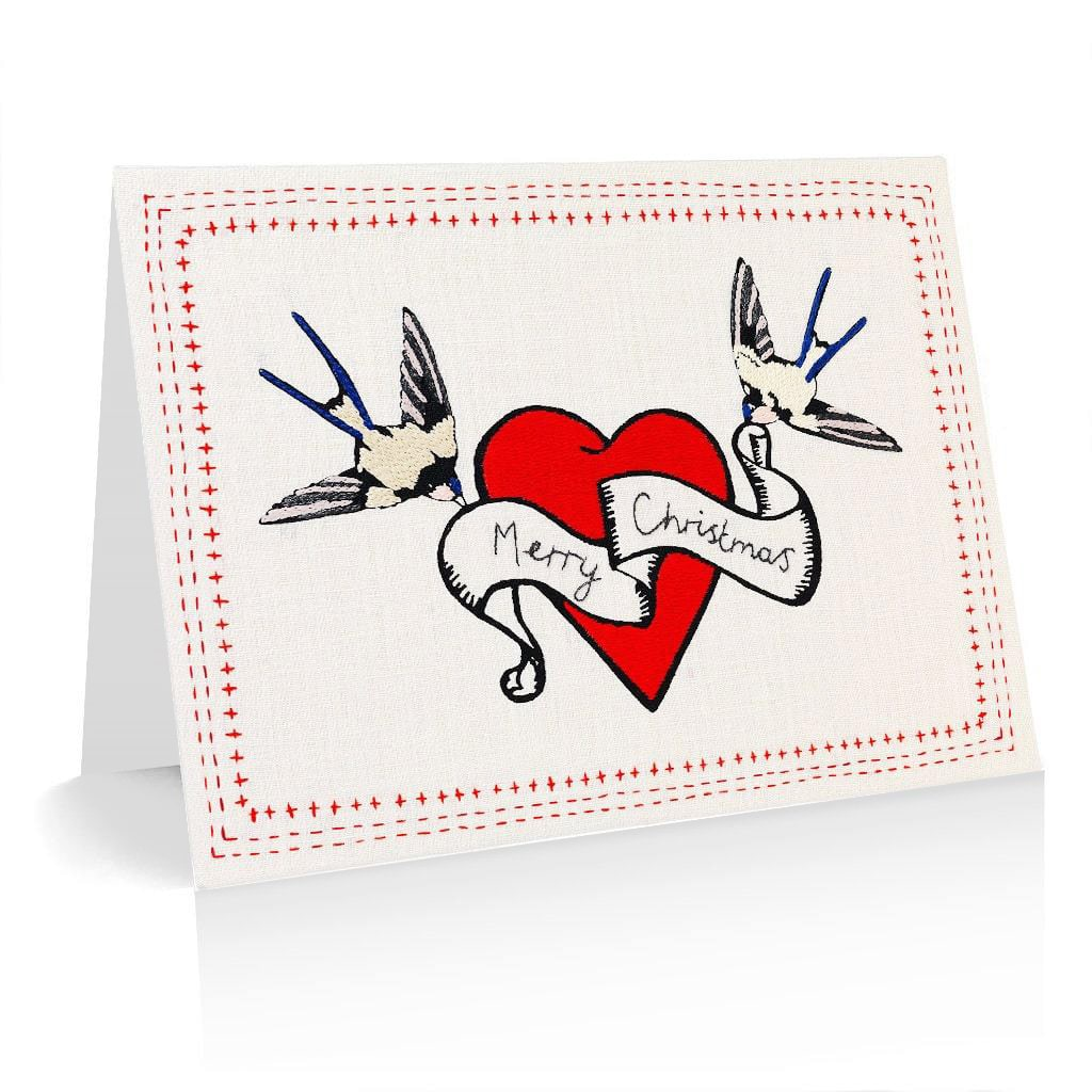 Pack of 5 Christmas Cards Heart & Birds Design