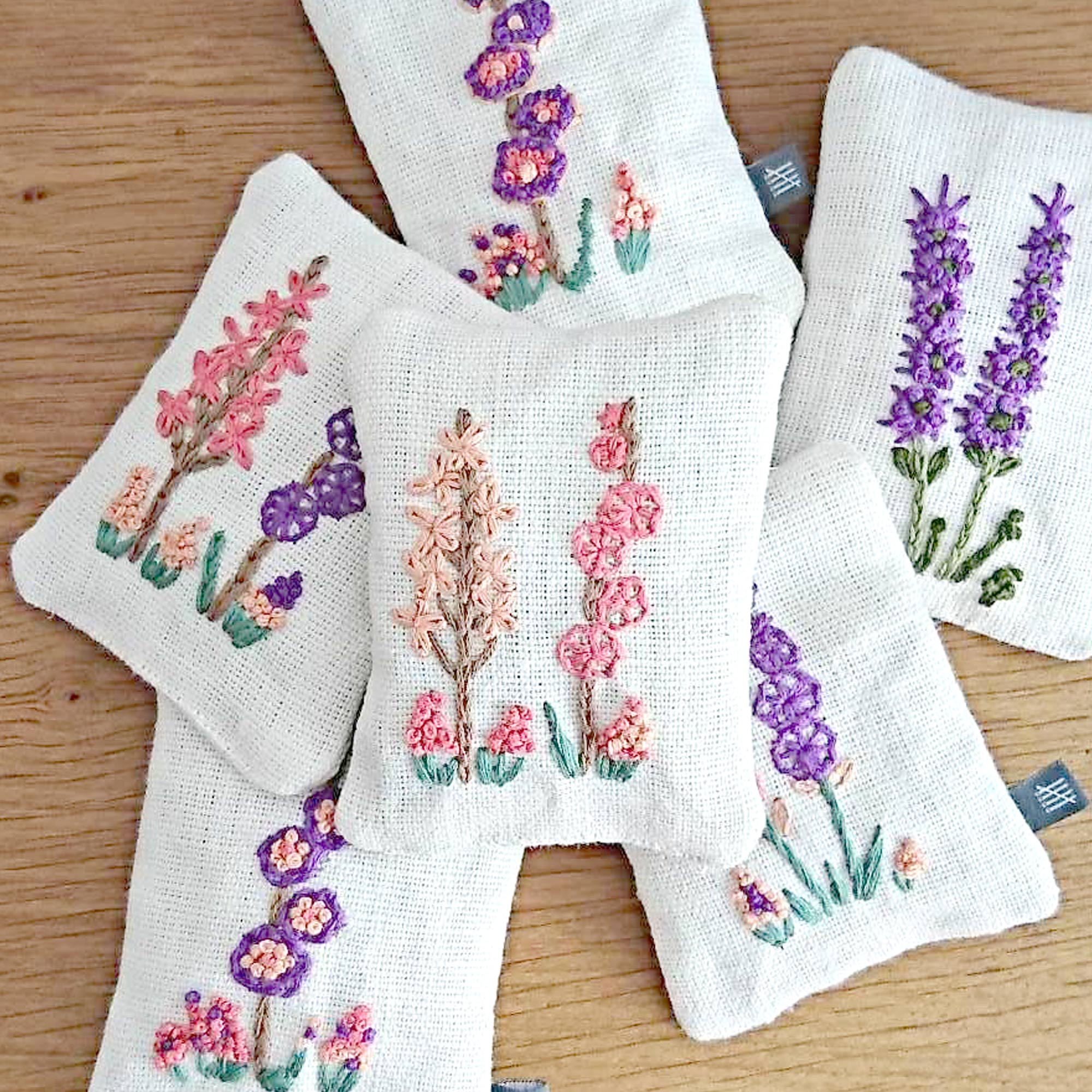Fine Cell Work Hand Embroidered Hollyhocks Floral Embroidered Lavender Bag