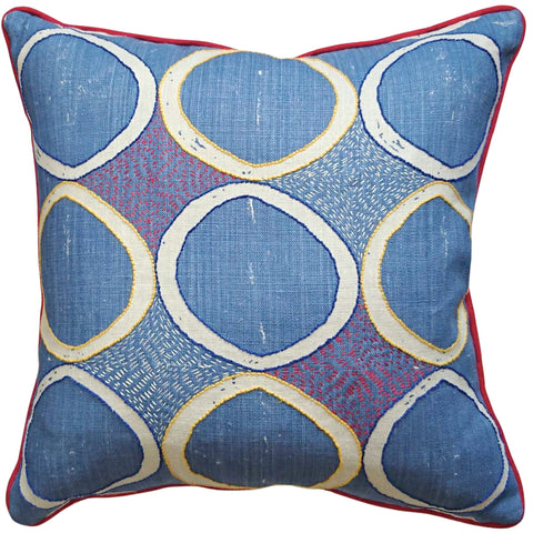 Fine Cell Work Hand-Embroidered Blithfield Kit Kemp Peggy Angus Circles Linen Cushion Blue Handmade in Prison