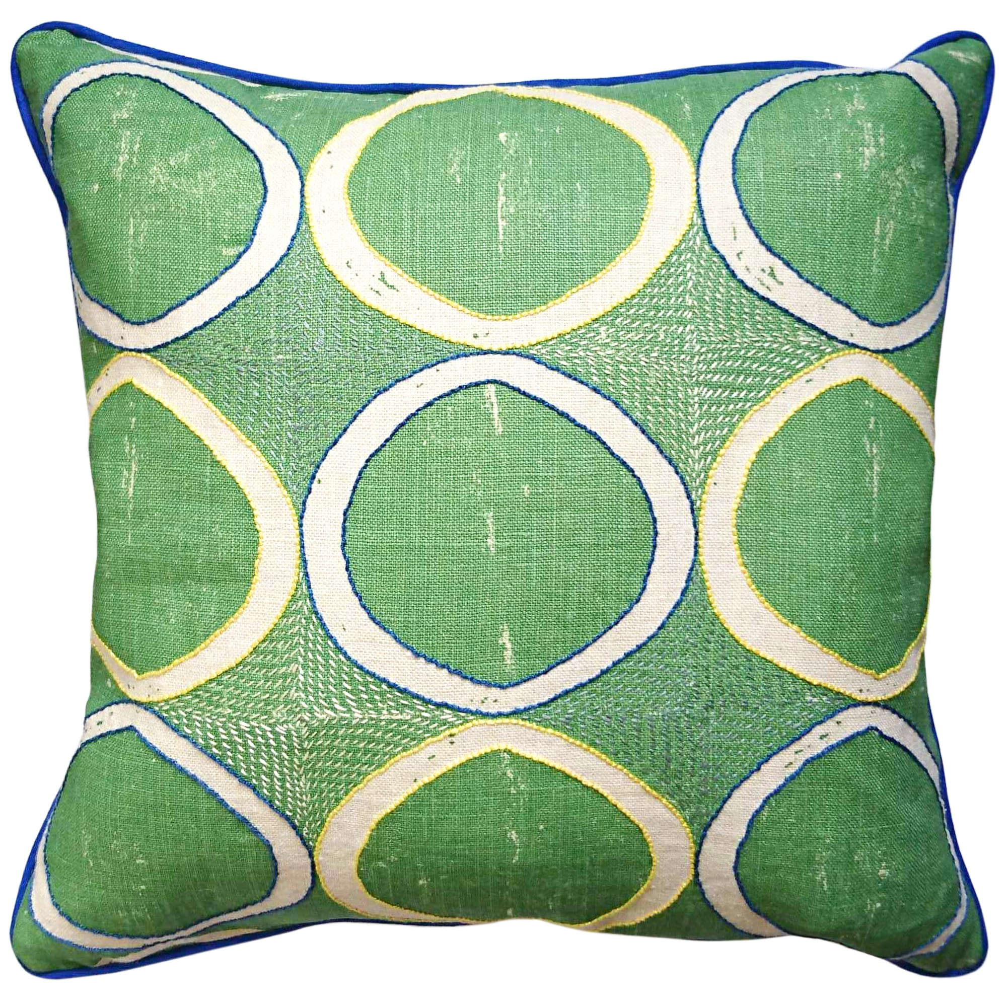 Fine Cell Work Hand-Embroidered Blithfield Kit Kemp Peggy Angus Circles Linen Cushion Green Handmade in Prison