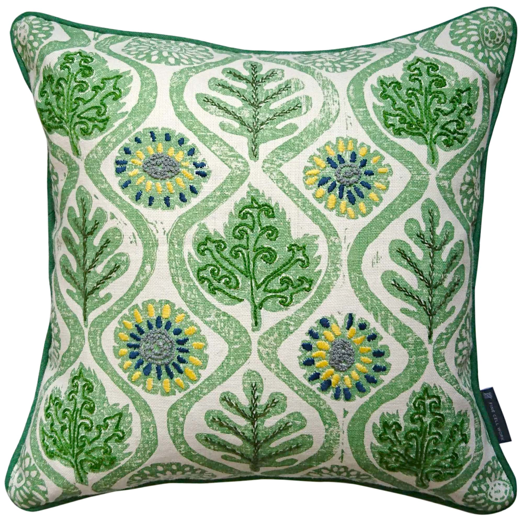 Fine Cell Work Hand-Embroidered Blithfield Kit Kemp Peggy Angus Oakleaves Irish Linen Cushion Yellow Leaf Green Handmade in Prison