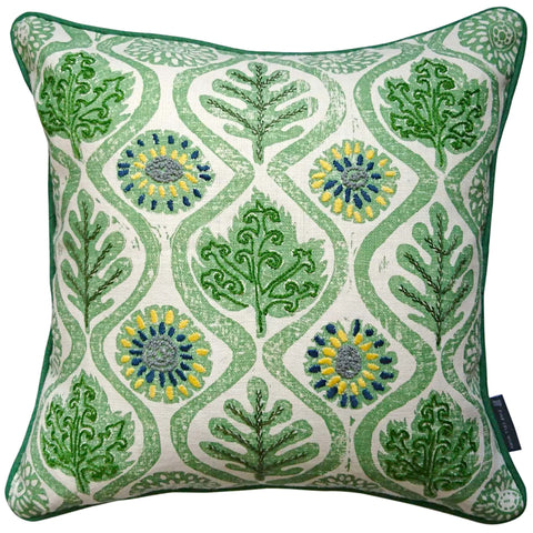 Hand-Embroidered Blithfield Oakleaves Cushion Green