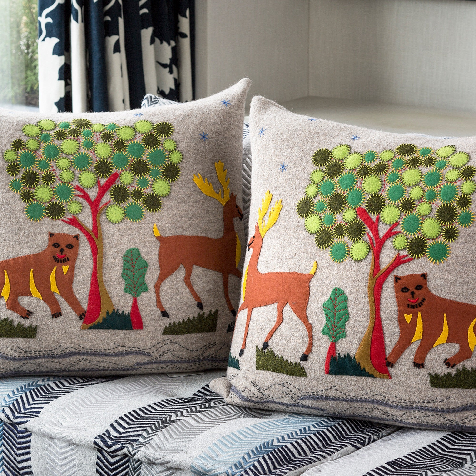 Kit Kemp's 'Folk' Pair of Cushions