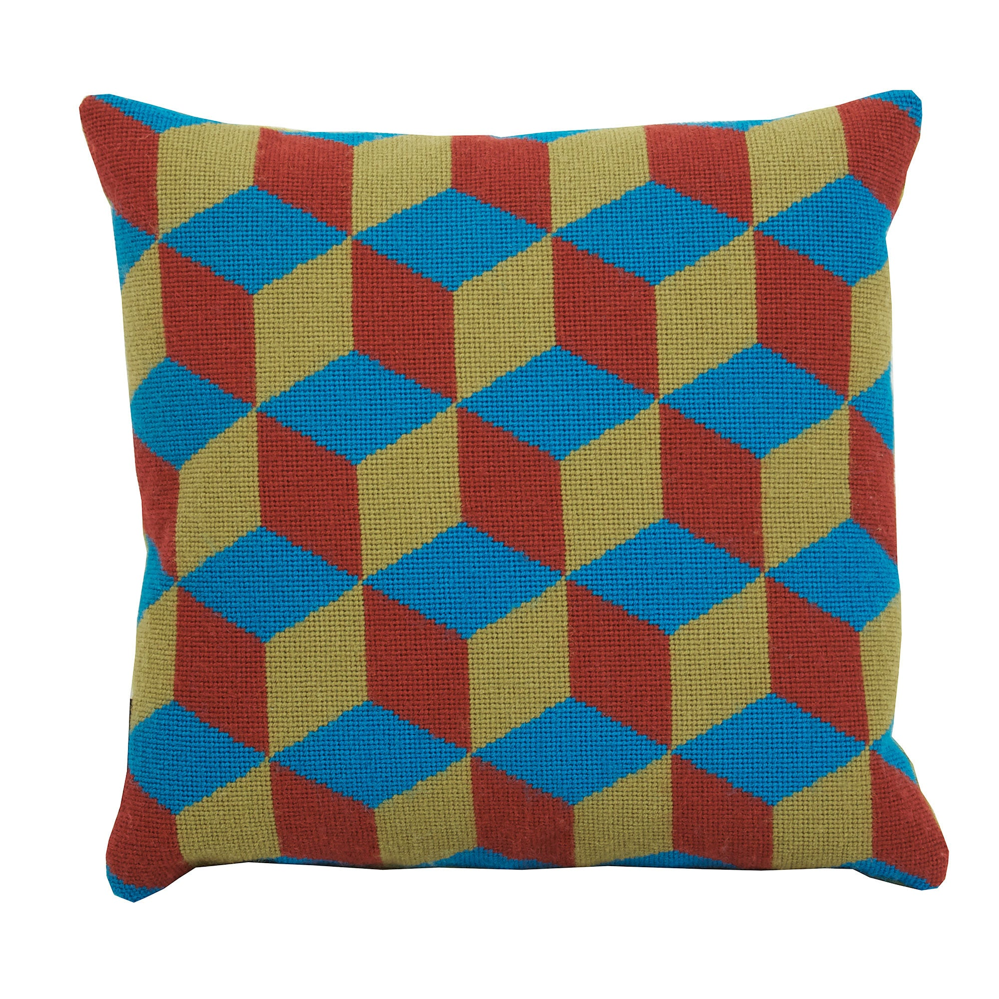 Pentreath & Hall Falling Cubes Cushion Blue and Green Fine Cell Work