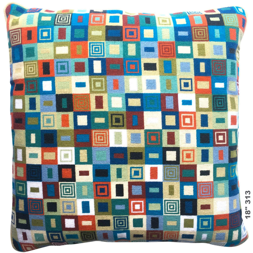 18 inch Geometric Needlepoint Cushion 313 Fine Cell Work