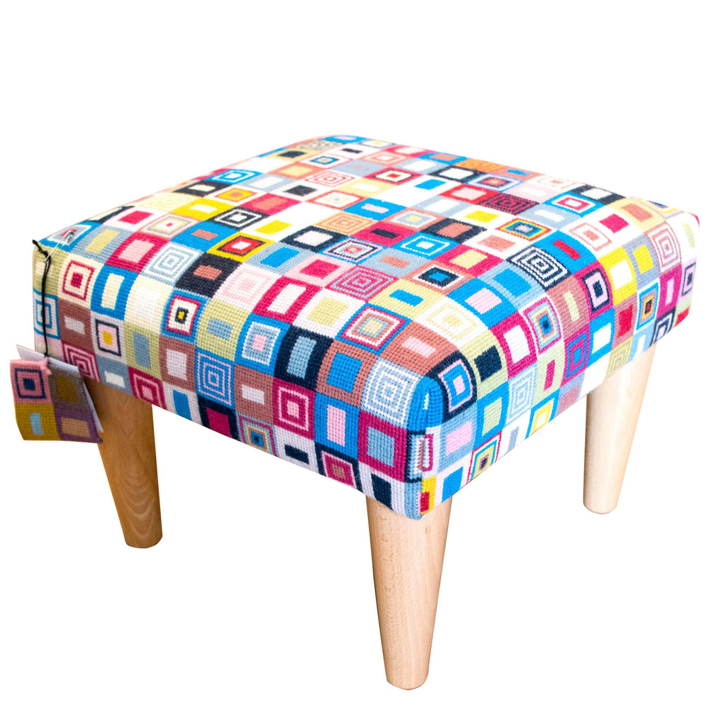Geometric Needlepoint Footstool Hand Stitched Embroidery Fine Cell Work
