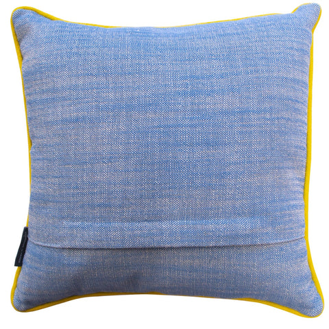 Geometric Needlepoint Cushion Hand Stitched Blue Linen Fine Cell Work