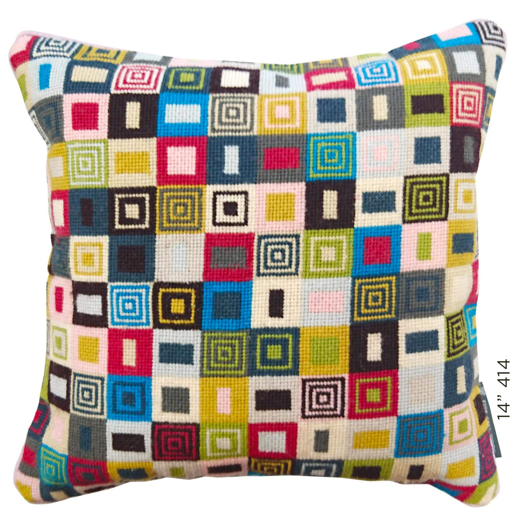 Geometric Needlepoint Cushion Multicoloured Hand Stitched Fine Cell Work