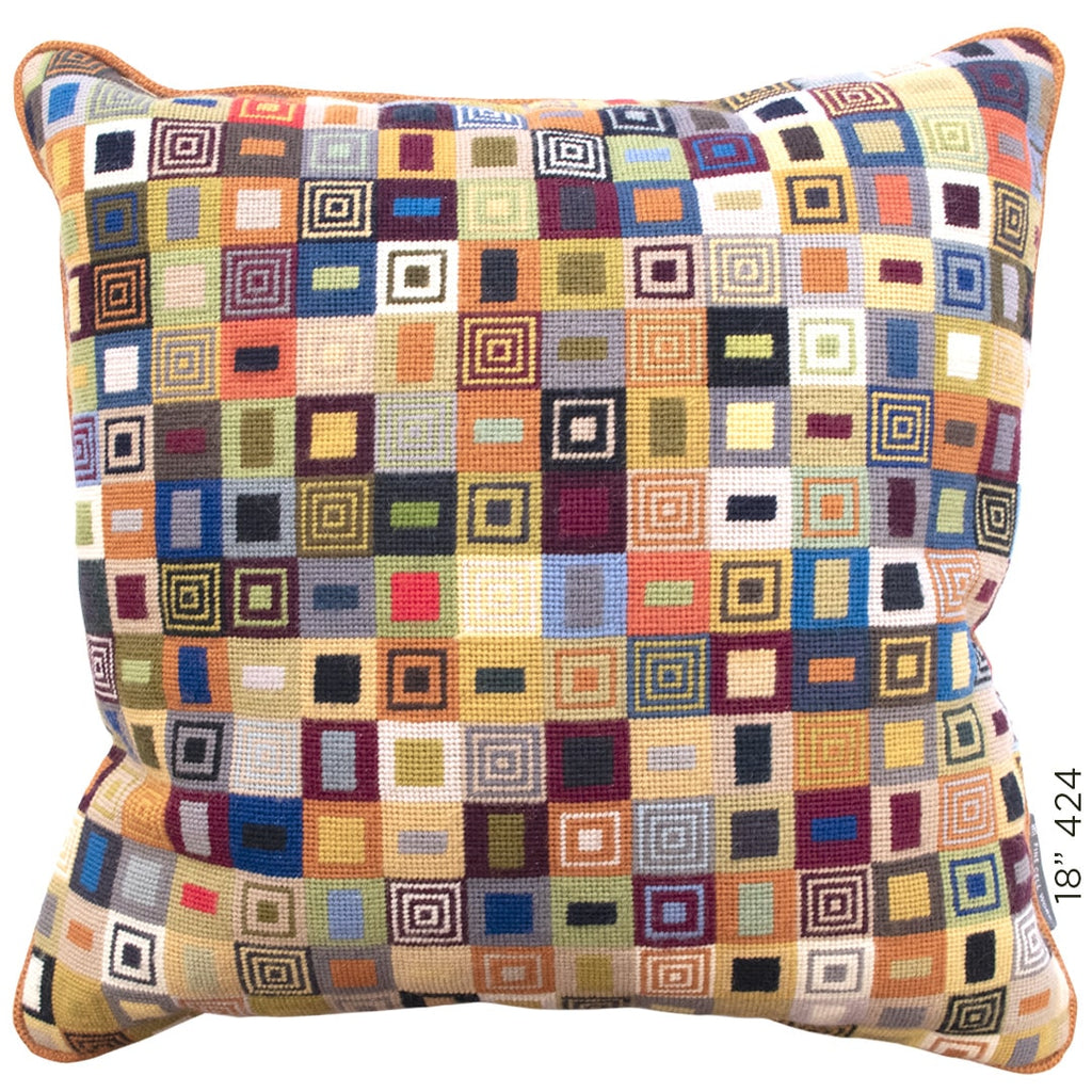 Geometric Needlepoint Cushion Multicoloured Hand Stitched Wool Fine Cell Work