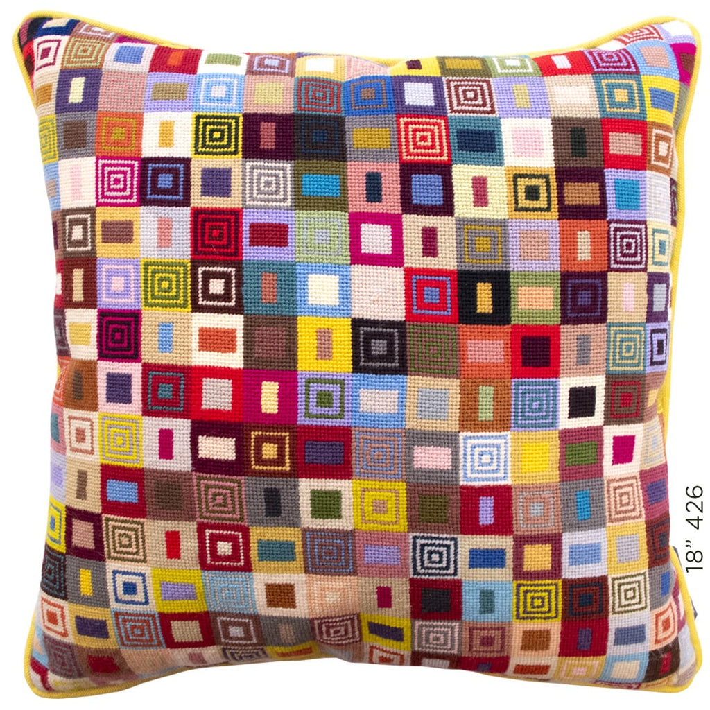 Geometric Needlepoint Cushion Hand Stitched Multicoloured Wool Fine Cell Work