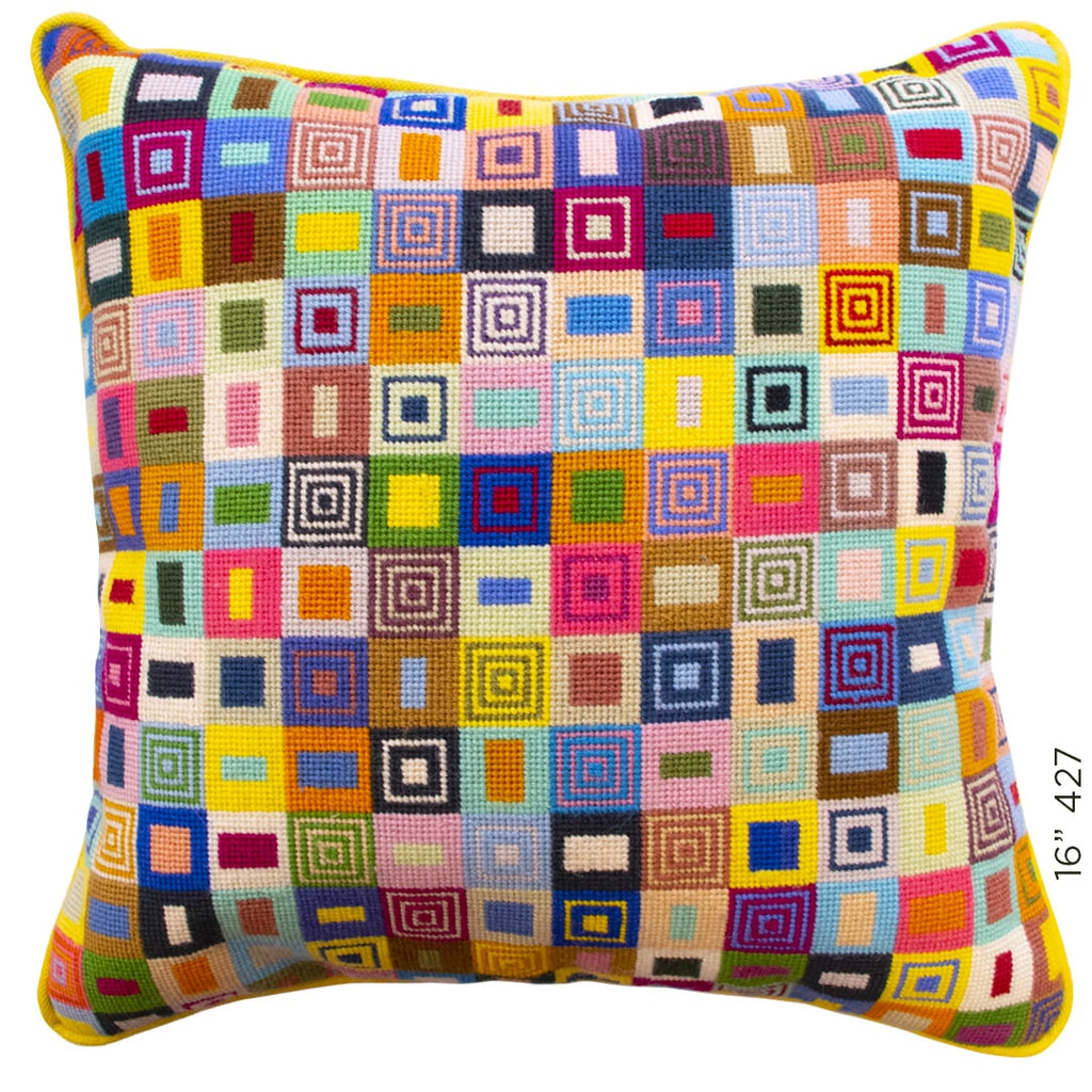 Geometric Needlepoint Cushion Hand Stitched Wool Multicoloured Fine Cell Work