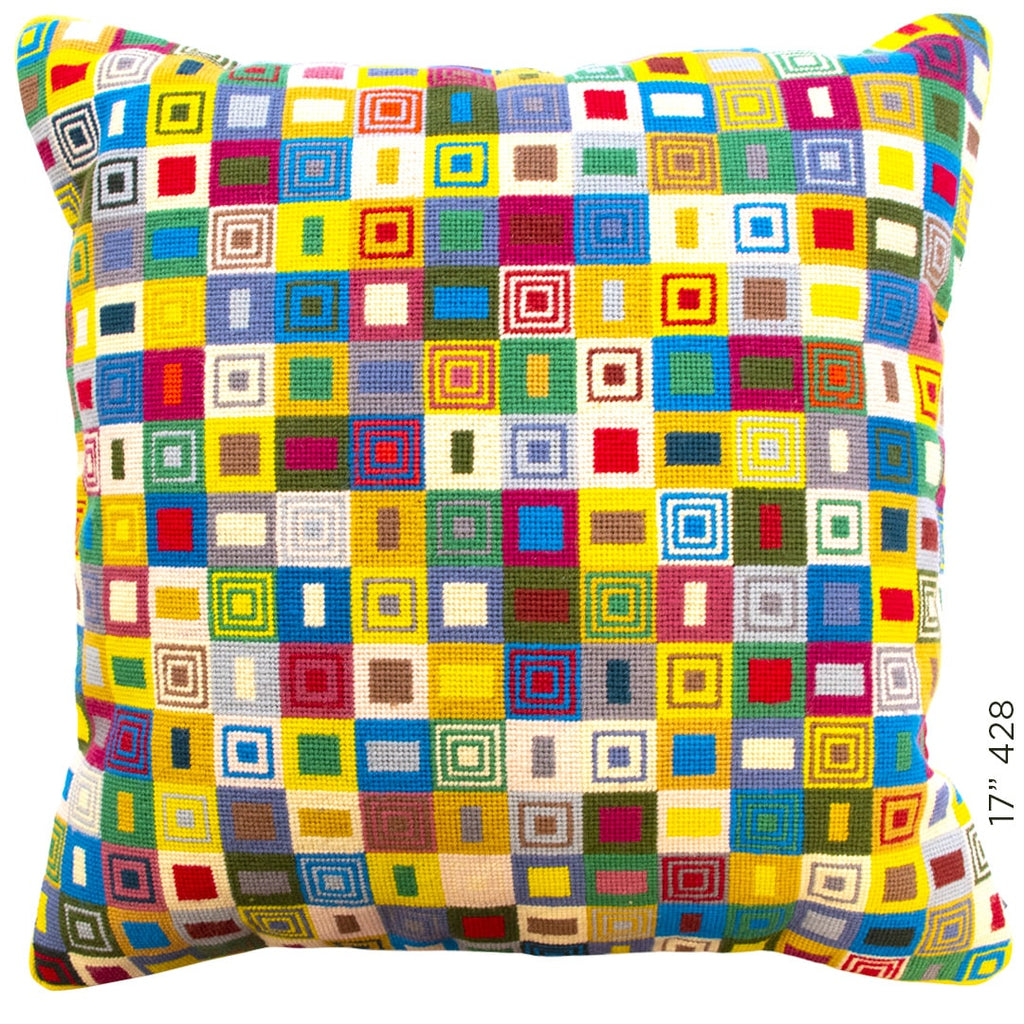 Geometric Needlepoint Cushion Hand Stitched Multicoloured Yellow Wool Fine Cell Work
