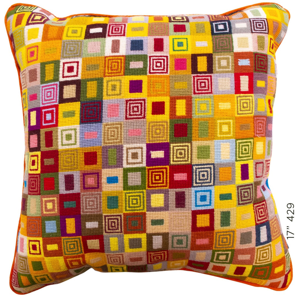 Geometric Needlepoint Cushion Hand Stitched Multicoloured Wool Yellow Fine Cell Work
