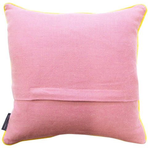 Geometric Needlepoint Cushion Hand Stitched Pink Linen Fine Cell Work