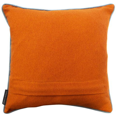 Geometric Needlepoint Cushion Hand Stitched Orange Linen Fine Cell Work