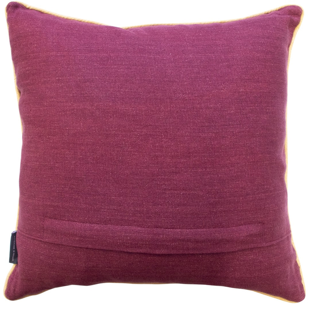 Geometric Needlepoint Cushion Hand Stitched Burgundy Red Linen Fine Cell Work