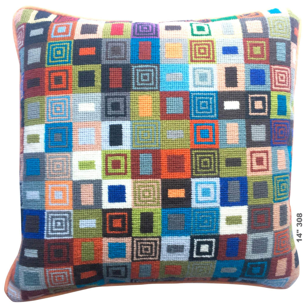 14 inch Geometric Needlepoint Cushion 308 Fine Cell Work