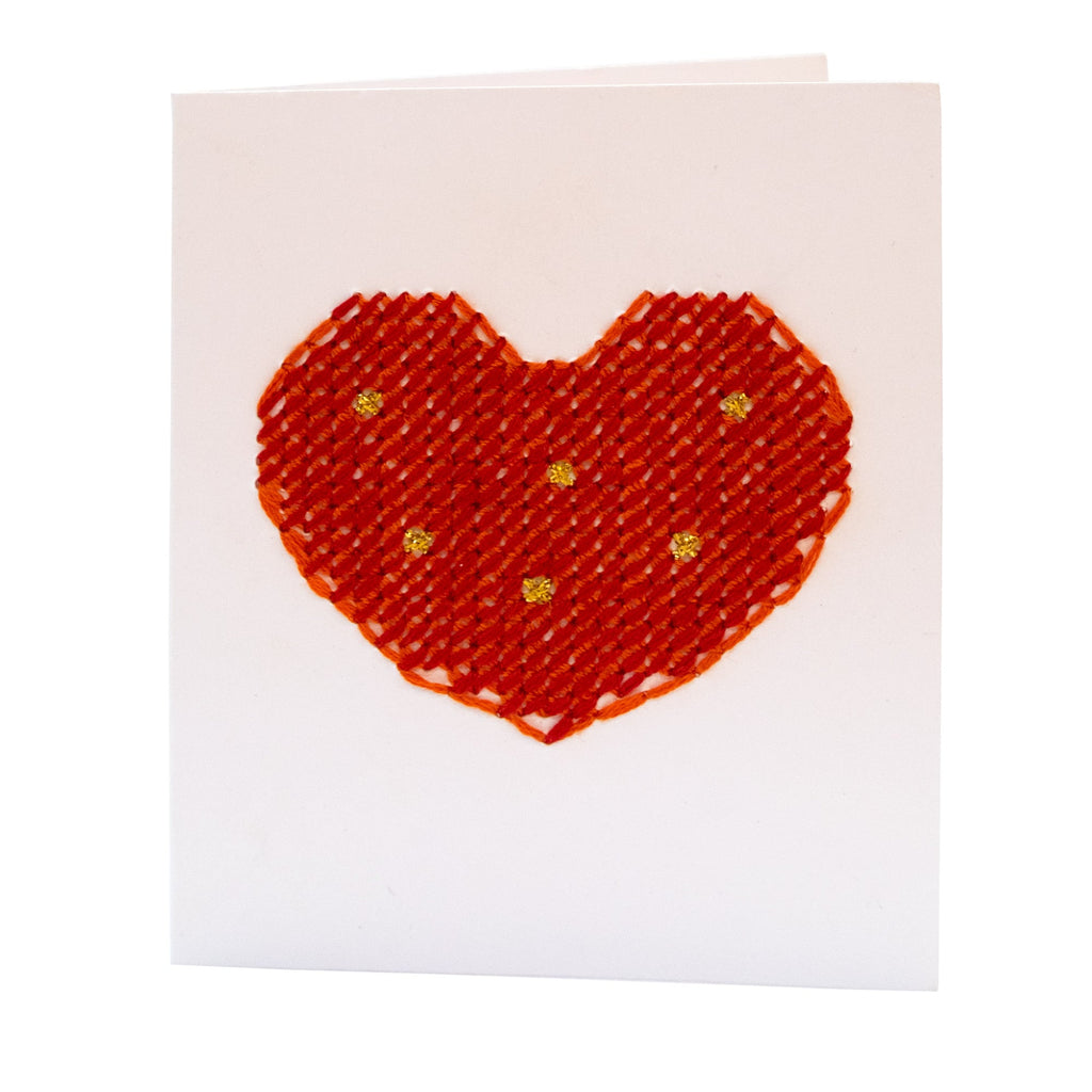Heart Love Valentines Card Cross Stitch Handmade Red Pink Fine Cell Work