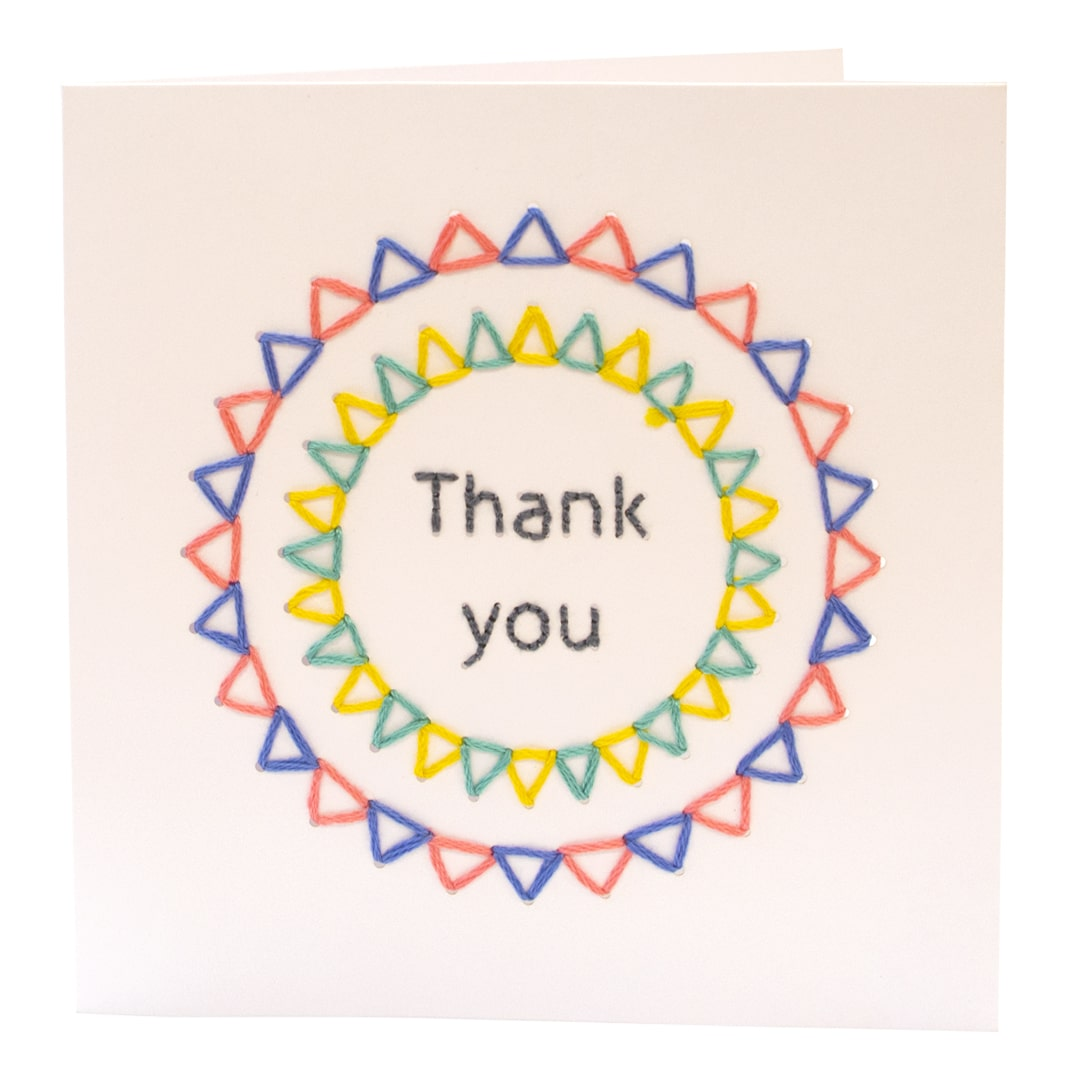 Handmade Embroidered Thank You Card Multicolour Fine Cell Work