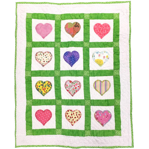 Childrens Handmade Quilt Filled With Love Hearts