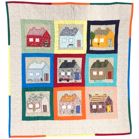 Childrens Handmade Quilt Happy Houses