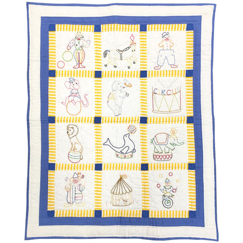 Childrens Handmade Quilt Scenes from the Circus