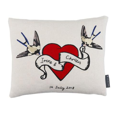 Customised Hearts and Birds Embroidered Cushion Tattoo Inspired Vintage Design Karen Nicol Fine Cell Work