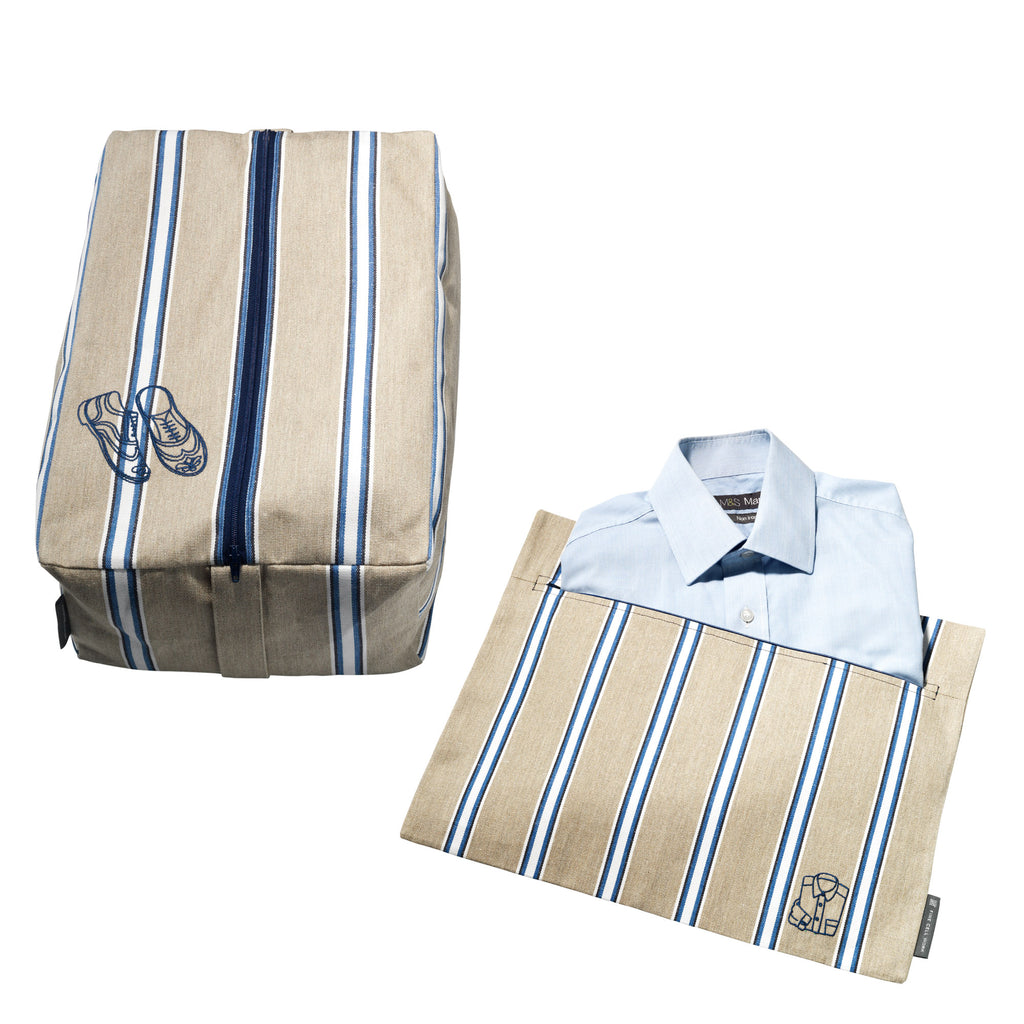 Set of Shirt and Shoe Bag in Wicket Indigo Fabric